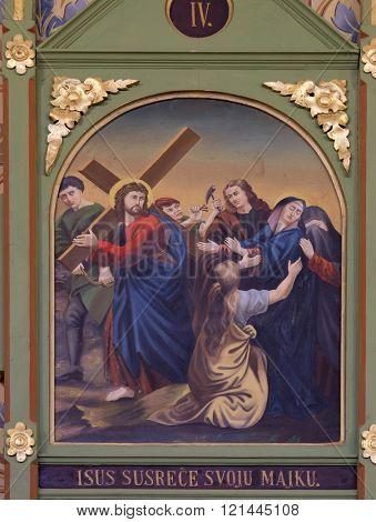 STITAR, CROATIA - NOVEMBER 24: 4th Stations of the Cross, Jesus meets His Mother, church of Saint Matthew in Stitar, Croatia on November 24, 2015