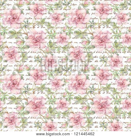 Pink camellia flowers and hand text letter. Watercolor. Seamless floral background