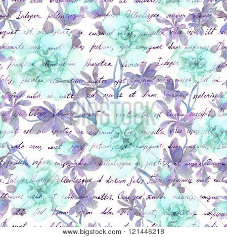 Blue flowers and handwriting text letter. Watercolor flowers.