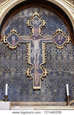 BOLOGNA, ITALY - JUNE 04: Crucifix, altar in San Petronio Basilica in Bologna, Italy, on June 04, 2015.