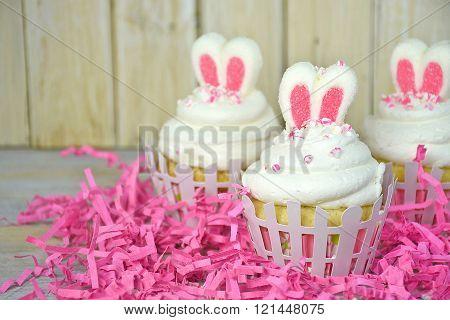 Easter bunny ears in cupcake
