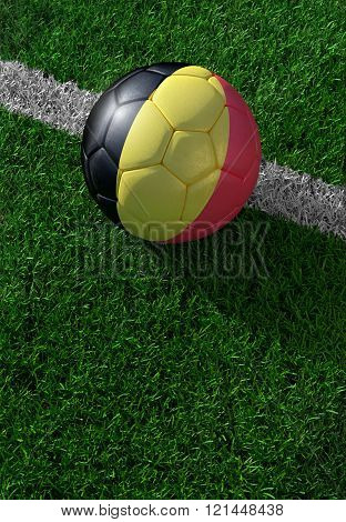 Soccer Ball And National Flag Of Belgium,  Green Grass
