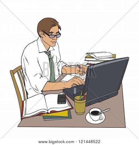 Man at work and a large number of documents