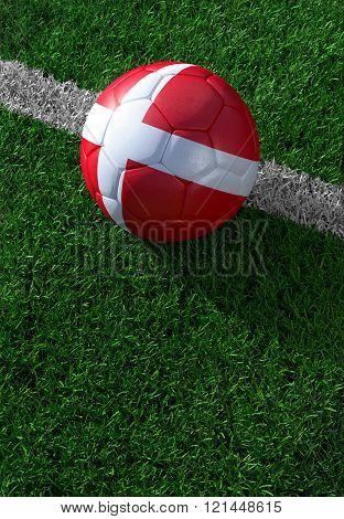 Soccer Ball And National Flag Of Denmark,  Green Grass