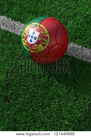 Soccer Ball And National Flag Of Portugal,  Green Grass