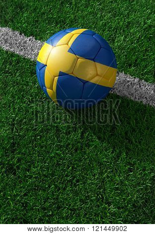 Soccer Ball And National Flag Of Sweden,  Green Grass