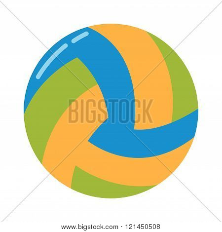 Dark blue, yellow volleyball ball on a white background vector illustration.
