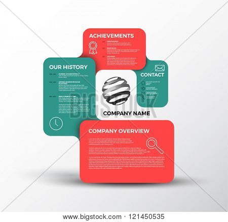 Vector Company infographic overview design template with rectangular labels - red and teal version