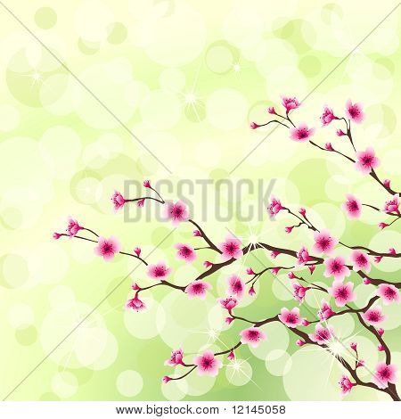 Bright green flowering tree background