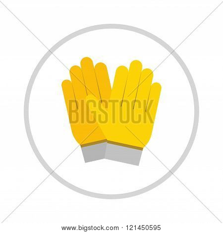 yellow gloves, hand protection isolated on white background.