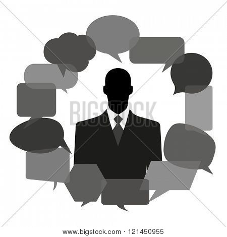 Man silhouette with thought bubbles