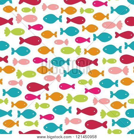Seamless background with colorful fishes