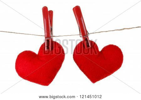 Concept Of Love Or Dating, Hearts Hung From Clothespins On Rope