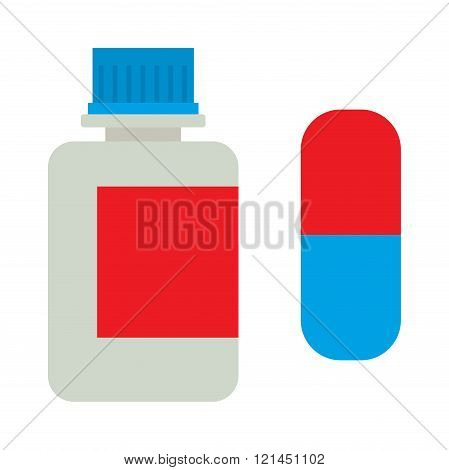 Medicine bottle vitamins jar vector illustration on white background.
