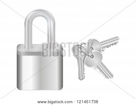 Padlock And Bunch Of Keys