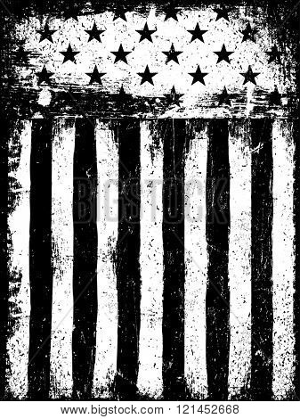 Stars and Stripes. Monochrome Negative Photocopy American Flag Background. Grunge Aged Vector Template. Vertical orientation.