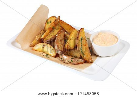 Idaho Roasted Potato Wedges  With Sauce, Isolated On White Background.