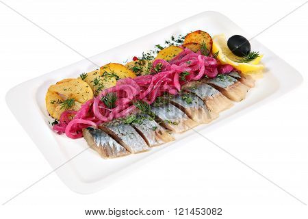 Salted Herring, Sliced With Fried Potatoes And Pickled Onions, Isolated.