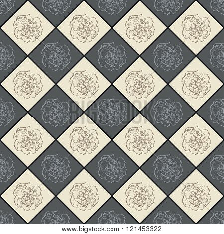 Grey And Beige Vector Seamless Chess Styled Vintage Texture With Clove Flower. Vector Illustration