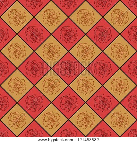 Red And Bronze Vector Seamless Chess Styled Vintage Texture With Clove Flower. Vector Illustration