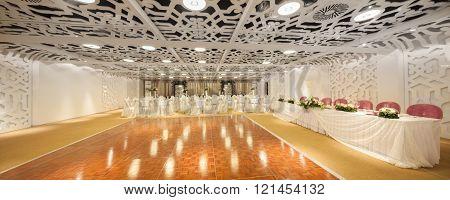 seamless panorama made with tilt-shift lens of wedding ballroom