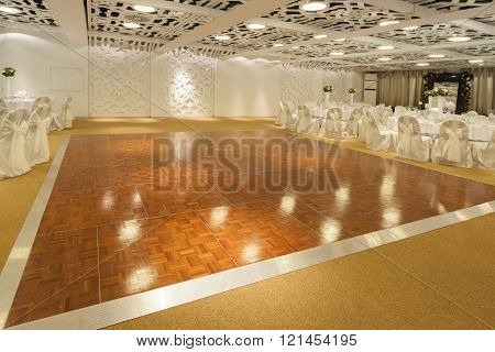 dancing floor in wedding ballroom in hotel interior