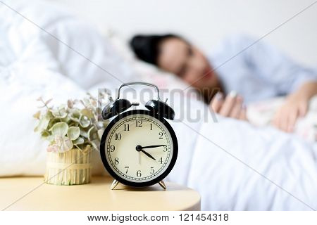 Antique Alarm Clock And The Girl
