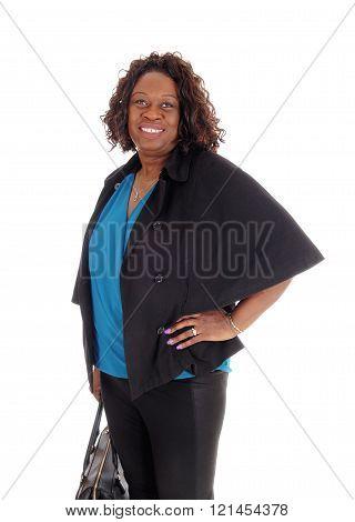 African American Woman With Handbag.