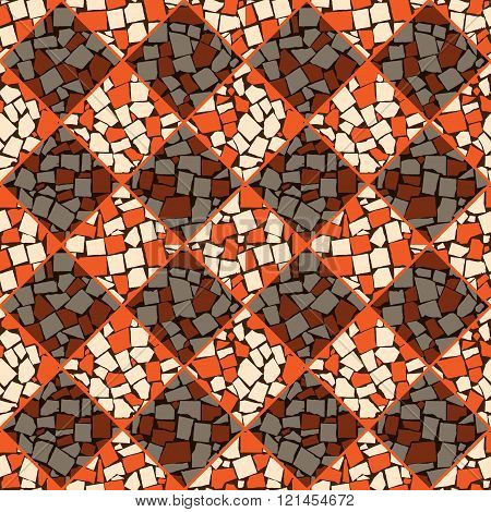 Orange And Ivory Vector Seamless Chess Styled Vintage Tiles Wall Texture. Vector Illustration