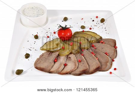 Cut Thin Slices Of Boiled Beef Tongue With Horseradish, Isolated.