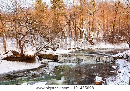 Tiny winter waterfall