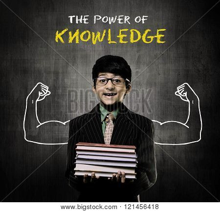 Genius Boy Holding Books Wearing Glasses, Power Of Knowledge