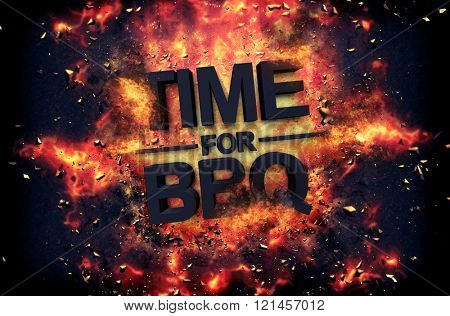 Artistic dramatic poster for - Time for BBQ - with black text surrounded by fiery orange flames and sparks over a black background