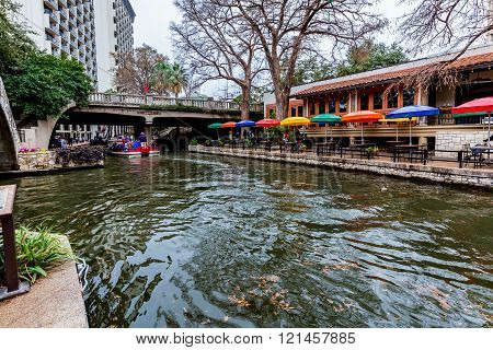 Scenic Views of the Riverwalk on a Rainy Day at San Antonio, Texas.