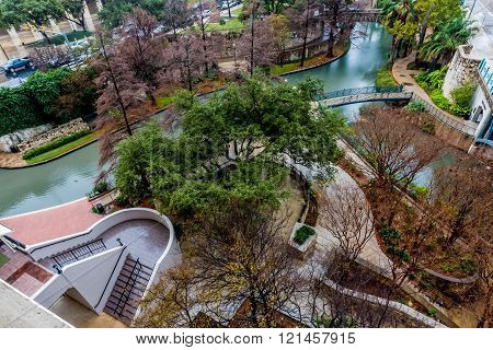Scenic Birds-eye-view of Wooded Walkways of the Riverwalk on a Rainy Day at San Antonio, Texas.