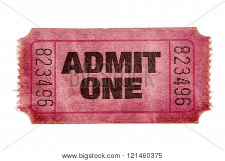 Old stained torn admit one ticket white background