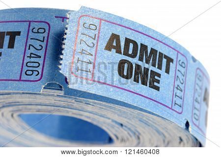 Roll of blue admit one tickets isolated on white background