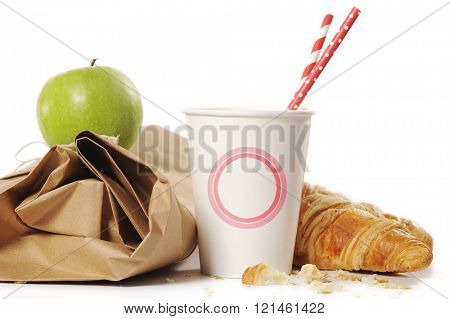 healthy school lunch with paper bag