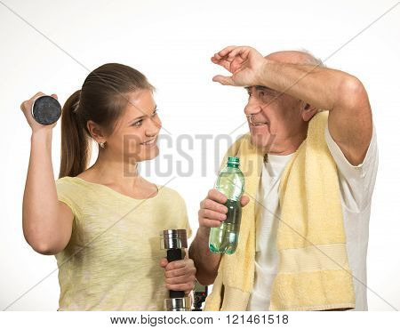 Man with Girl and Dumbbell