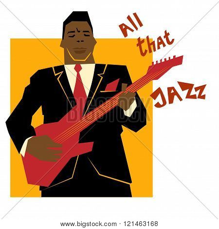 Retro  jazz music concept, guitar man