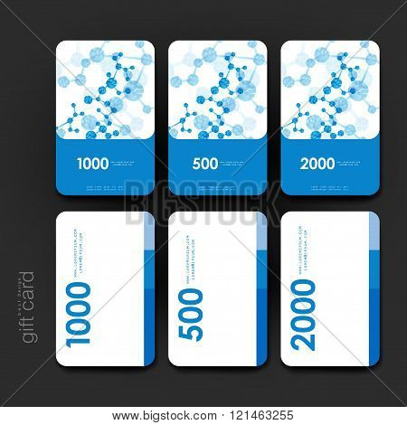 Gift coupon, discount card template with DNA molecule background