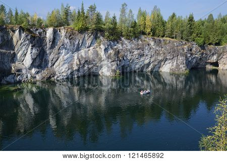 August day in the Ruskeala marble canyon. Karelia