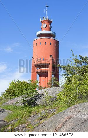 The old water tower on the cliffs of the Peninsula of Hanko