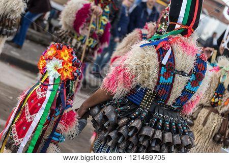 RAKOVSKI BULGARIA - FEBRUARY 06 2015 - Kukeri festival in Rakovski Bulgaria. People dressed in different costumes dance and preform rituals to scare the evil spirits.