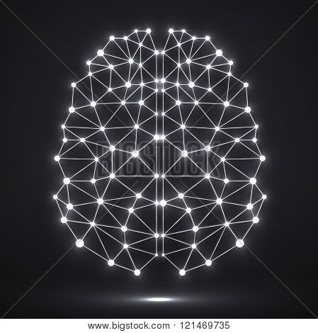 Abstract polygonal brain with glowing dots and lines network connections