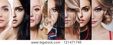 Collection of evening makeup. Halves face several girls in one photo Beautiful girls. Beauty face. Brunettes and blondes