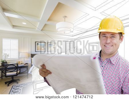 Smiling Contractor in Hard Hat with Roll of Plans Over Custom Bedroom Drawing and Photo Combination.