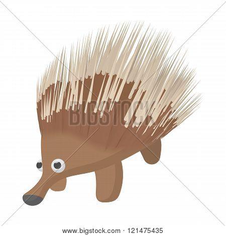 A borwn porcupine icon, cartoon style