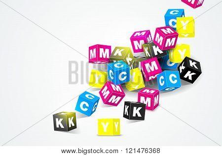 Cmyk Print Concept With 3D Cubes