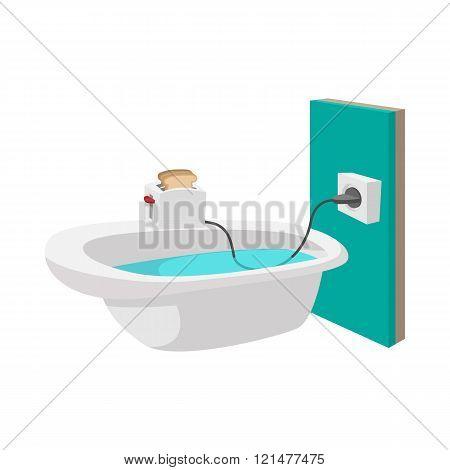 Toaster on the edge of a bathtub icon